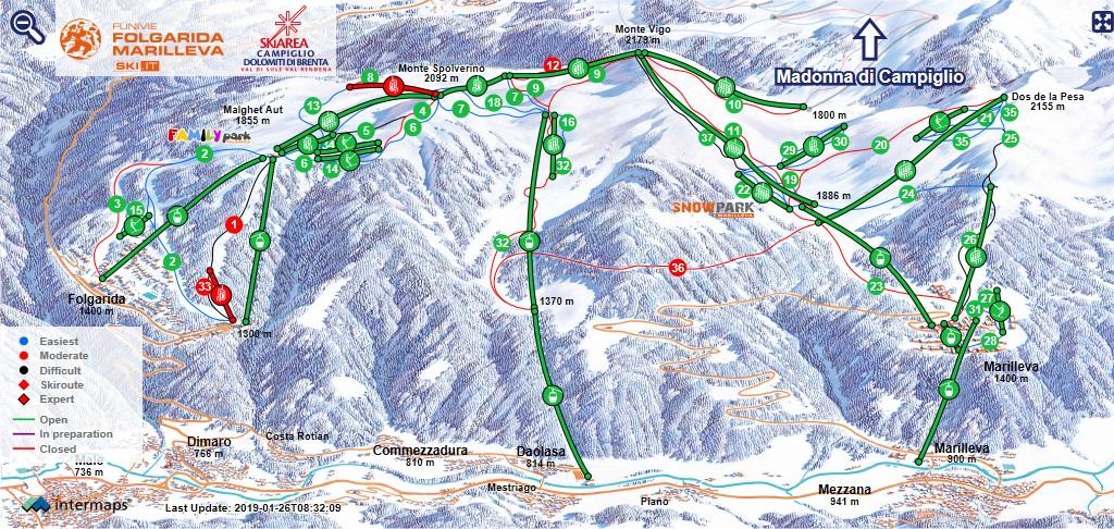 Mappa piste skiarea